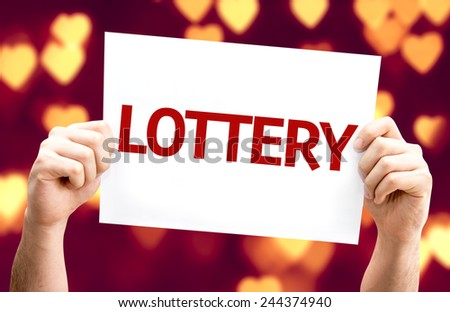 Lottery card with heart bokeh background - stock photo