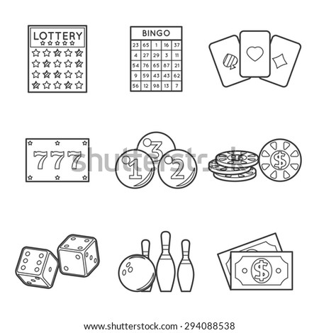 Lottery icon set. Dollar and bowling, dice and blackjack, poker and chance, bingo and jackpot, fortune and gamble - stock photo