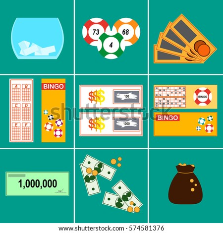 Lottery illustration flat design icons set stock illustration lottery illustration in flat design icons set lottery tickets prizes kind of lottery sciox Gallery