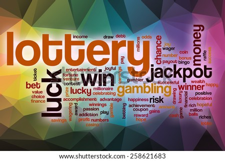 Lottery word cloud concept with abstract background