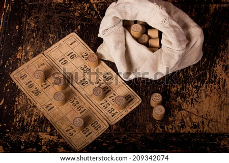 Lotto game, cards, barrels and figures. Retro, vintage - stock photo