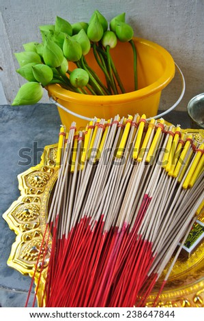 lotus and joss stick for pray in Buddha temple - stock photo