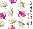 lotus and magnolia  flower pattern - stock photo