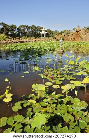 Lotus Lagoon and pavilion - stock photo