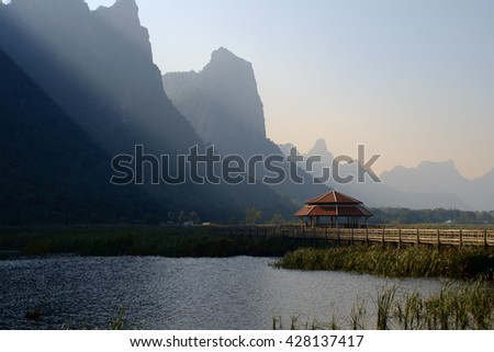 Lotus Pond 300 mountain peaks in the morning.West Thailand.