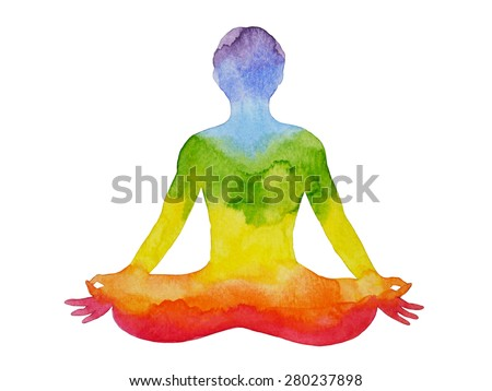 lotus pose yoga with mudra hand, watercolor painting, abstract aura power, nature pattern design, rainbow chakra sign - stock photo
