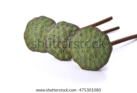 Lotus seeds, green isolated on white background .