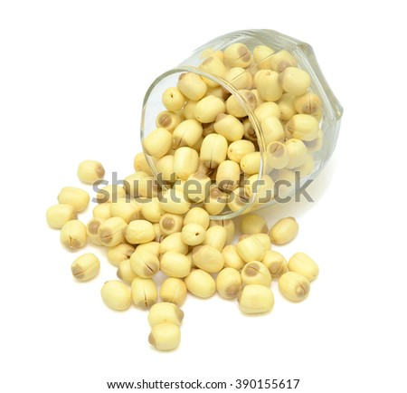 Lotus seeds isolated on the white background