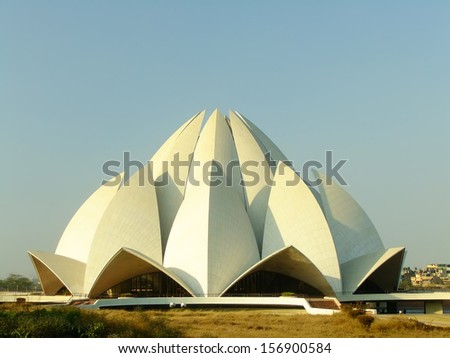Lotus Temple, New Delhi, India - stock photo