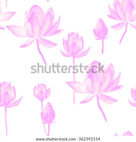 Lotus watercolor seamless pattern. Beautiful hand drawn texture. Romantic background for web pages, wedding invitations, textile, wallpaper. Symbol of India,  yoga and meditation.
