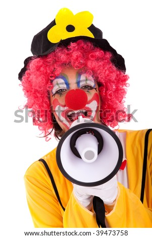loud funny message from a clown with a megaphone (isolated on whites) - stock photo