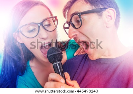 loud song singing father with daughter
