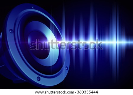Loud speaker and  sound wave - stock photo