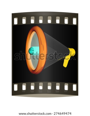 Loudspeaker as announcement icon. Illustration on black. The film strip - stock photo