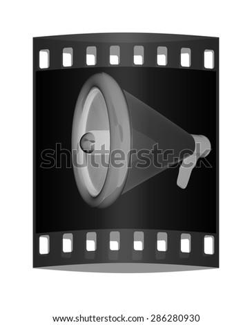 Loudspeaker as announcement icon. Illustration on black. The film strip - stock photo
