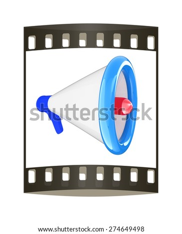 Loudspeaker as announcement icon. Illustration on white. The film strip - stock photo