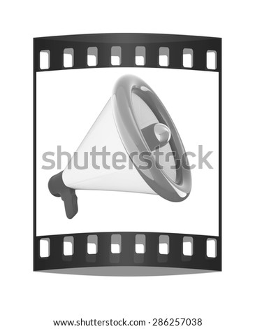 Loudspeaker as announcement icon. Illustration on white. The film strip - stock photo