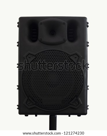 Loudspeaker , Black loudspeaker isolated. - stock photo