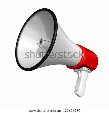 Loudspeaker or Megaphone - isolated on white background - stock photo