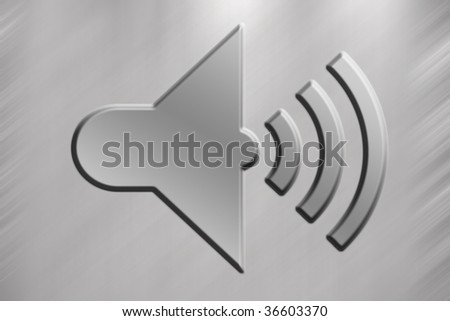 Loudspeaker symbol with grey background - stock photo