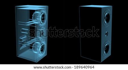 Loudspeaker x-ray blue transparent isolated on black - stock photo