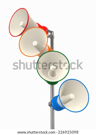 Loudspeakers as announcement icon. Illustration on white - stock photo
