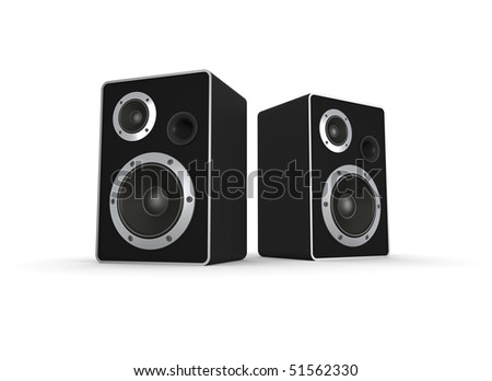 Loudspeakers on white. Computer generated image.