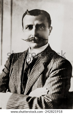 Louis Bleriot was the first man to fly the English Channel, winning the \xA31,000 prize offered by the London Daily Mail. Bleriot became a successful airplane manufacturer, specializing in monoplanes. - stock photo