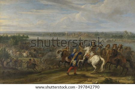 Louis XIV Crossing into the Netherlands at Lobith, by Adam Frans van der Meulen, c. 1672-90. The French invaded the Netherlands with an army of 120,000, on June 12, 1672. The Franco-Dutch War resulted - stock photo