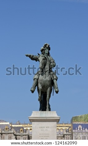 Louis XIV equestrian statue, palace of Versailles (France) - stock photo