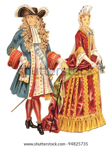 Louis XIV of France and french noblewoman (1680-1700) / vintage illustration from Meyers Konversations-Lexikon 1897 - stock photo