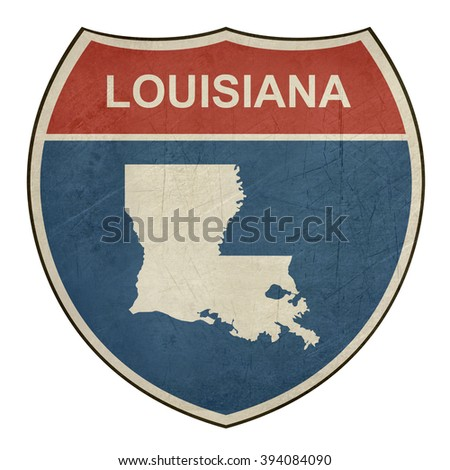 Louisiana American interstate highway road shield isolated on a white background. - stock photo