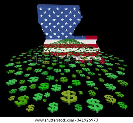Louisiana map flag with abstract dollars illustration - stock photo