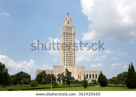 Louisiana State Capitol building which is located in Baton Rouge, LA, USA. - stock photo