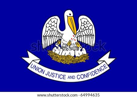 Louisiana state flag of America, isolated on white background. - stock photo
