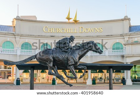 LOUISVILLE, KENTUCKY, USA - APRIL 3 2016:   Entrance to Churchill Downs featuring a statue of 2006 Kentucky Derby Champion Barbaro. - stock photo