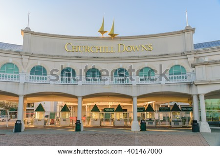 Louisville, Kentucky, USA - April 4, 2016. Main Entrance to Churchill Downs where the Kentucky Derby is held on the first Saturday in May. - stock photo
