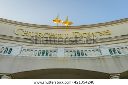 LOUISVILLE KENTUCKY, USA - MAY 15, 2016. Main Entrance to Churchill Downs where the Kentucky Derby is held on the first Saturday in May. - stock photo