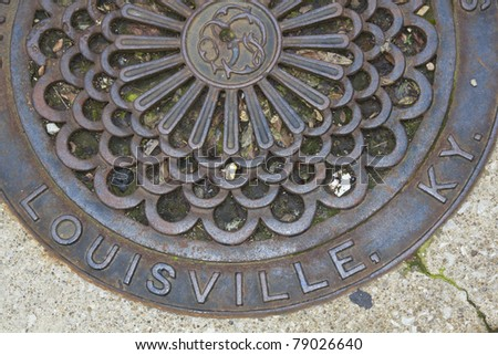 Louisville - manhole cover in the center of the city