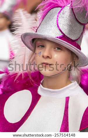 LOULE, PORTUGAL - FEB 2015: Colorful Carnival (Carnaval) Parade festival participants on Loule city, Portugal.