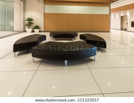 Lounge area. Modern lobby, hallway of the luxury hotel, business center, shopping mall in Vancouver, Canada. Interior design.