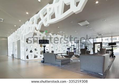 Lounge area of a hotel, club, company lobby - stock photo