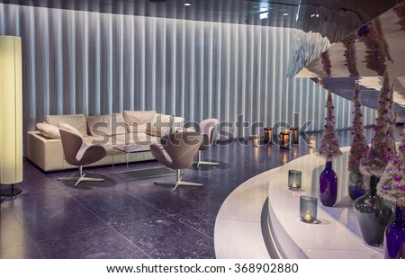 lounge aria in contemporary hotel, Christmas time in Vienna