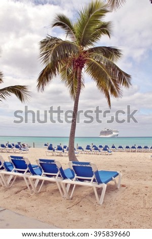 Lounge chairs on the beach