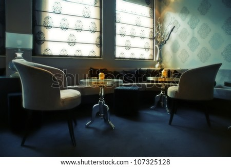 lounge hall by evening cafe - stock photo