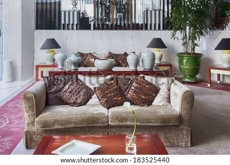 lounge hotel hall  - stock photo