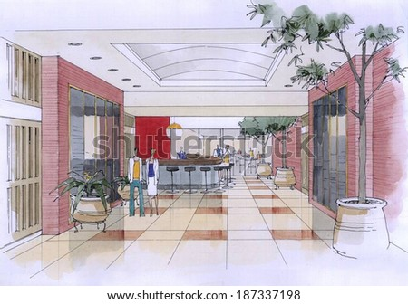 lounge in the hotel - stock photo