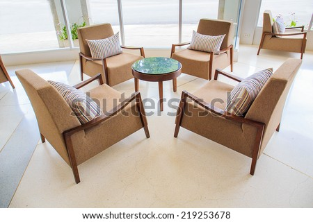 Lounge, lobby area of a hotel, office - stock photo