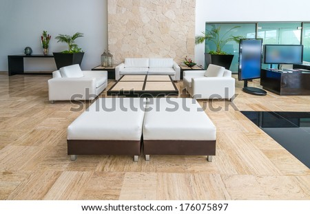 Lounge, lobby area of a hotel, office. Fragment of the modern lobby of the five stars hotel in Mexico. Interior design.