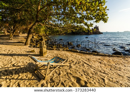 Lounger on the shore of a tropical island. Koh Chang. Thailand.